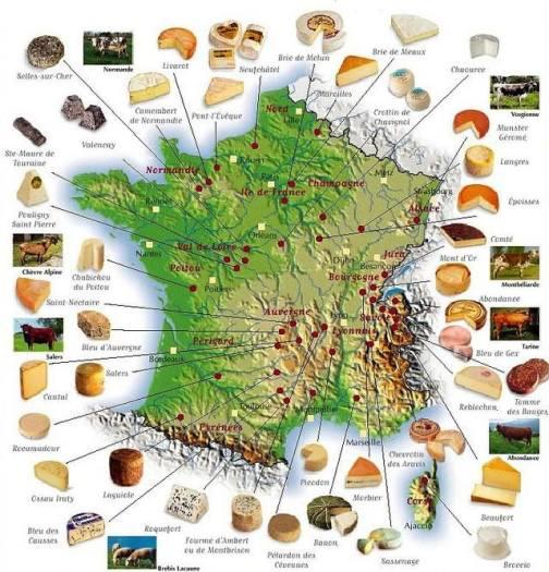 mapa dos queijos na frança