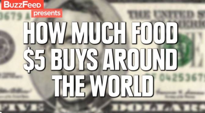 Quanto de comida você pode comprar por $5 dólares por esse planeta a fora?